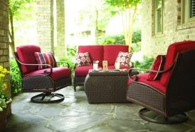 Martha Stewart Living Cedar Island Cushions For 4 Piece Wicker Patio  Seating Set